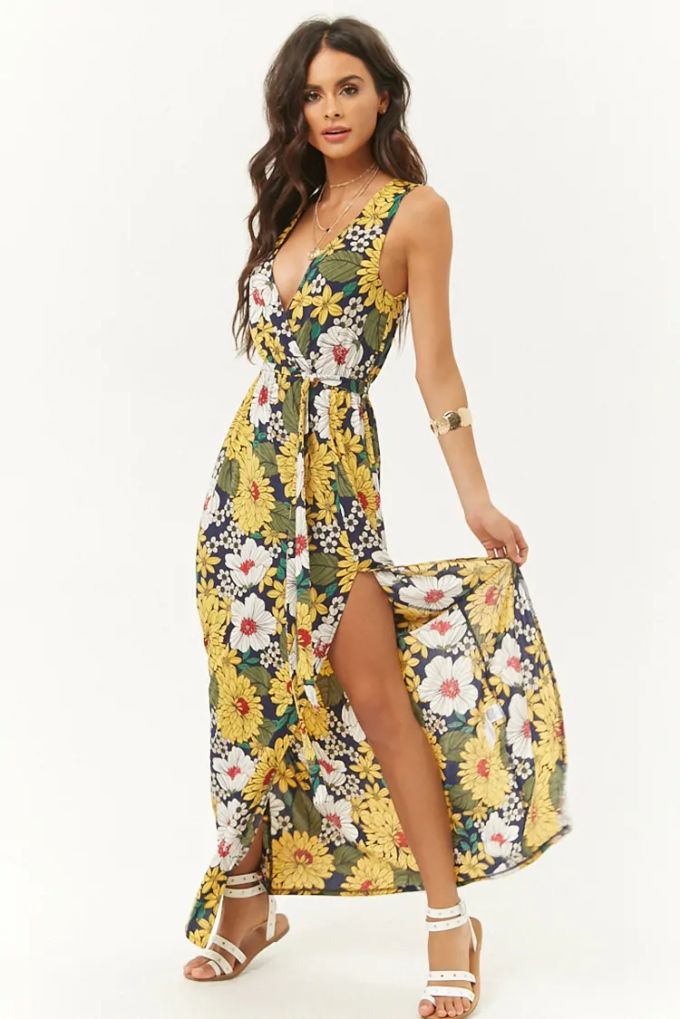 Floral dress, lightweight dress, linen dress, This slub knit maxi dress features an allover pen-and-ink floral print, surplice neckline, sleeveless construction, elasticized waist, removable sash belt, and a side slit.