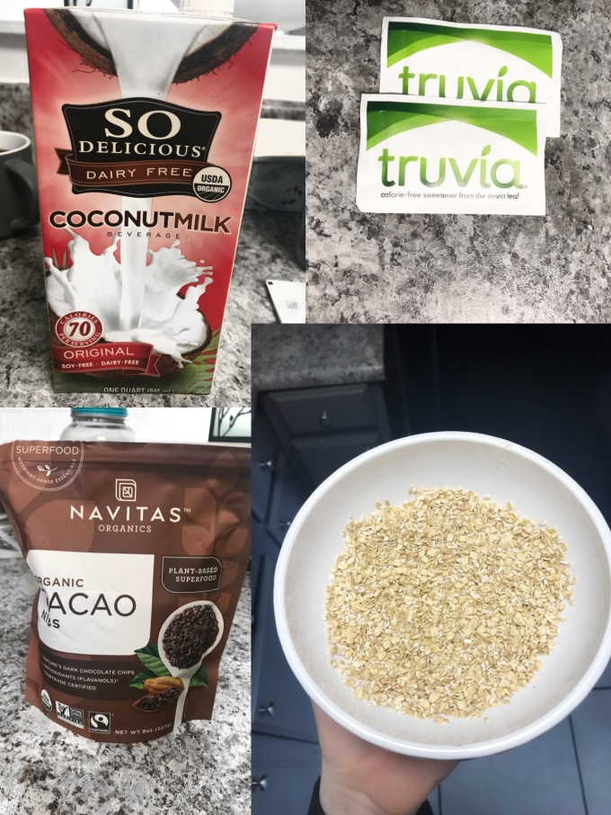 Vegan oatmeal ingredients, coconut milk, truvia, cacao nibs, oats