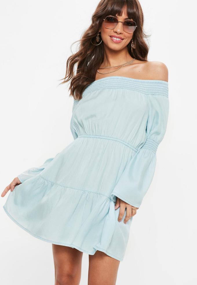 cold shoulder, off the shoulder dress, denim dress