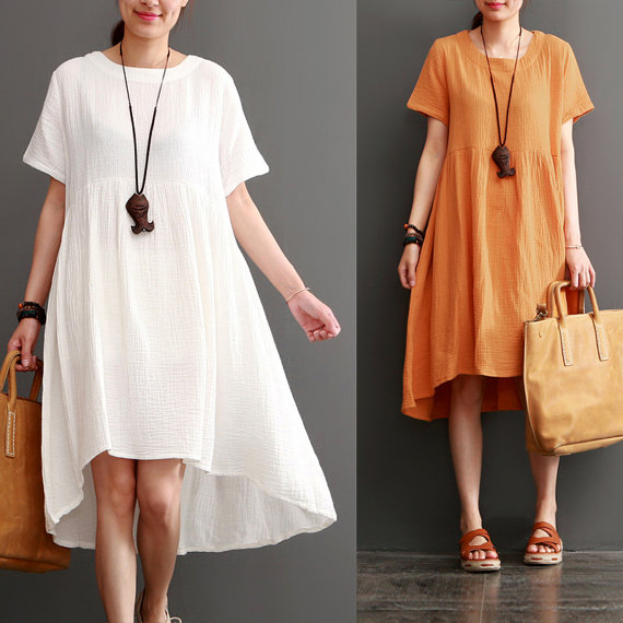 oversized dress, tunic dress, cotton blouse Women round neck maxi dress summer cotton blouse tunic dress cotton pleated dress linen dress women linen clothing plus size clothing