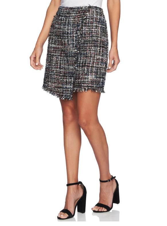 Nordtrom Faux Wrap Tweed Skirt