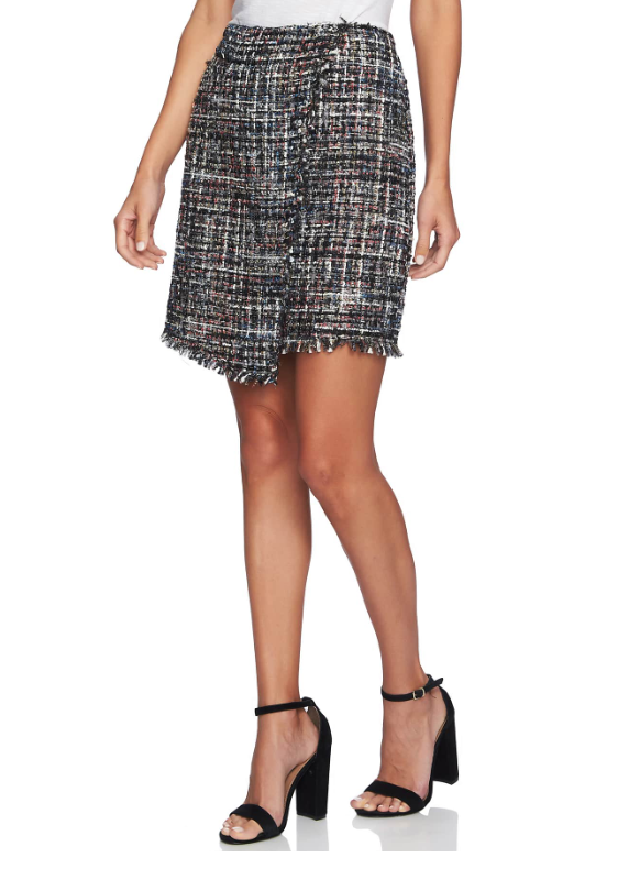 Nordtrom Faux Wrap Tweed Skirt